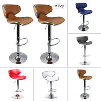 Set Of 2 Bar Stools Pub Dining Counter Chair Leather Adjustable Swivel 3 Color