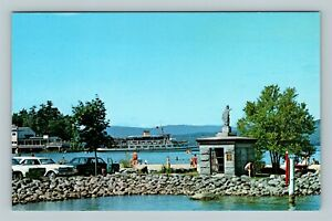 Weirs Beach NH, Endicott Rock, Lake Winnipesaukee, Chrome New Hampshire Postcard