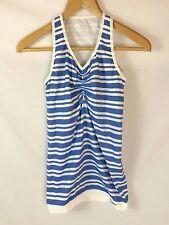 NWT Nike - Metallic BLUE & white striped SOFT stretch tank, ruched V-neck sz S