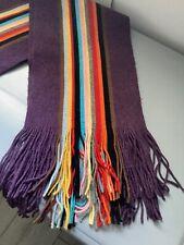 Paul Smith College Scarf Signature Multi Stripe Purple 100%Wool Excellent Cond