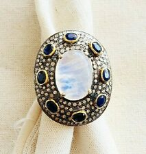 Scintillating Moonstone, Sapphire, Diamond & Oxidized Sterling Silver Ring