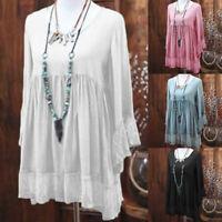 Womens Long Sleeve Loose T-Shirt Top Blouse Summer Beach Casual Dress Plus Size