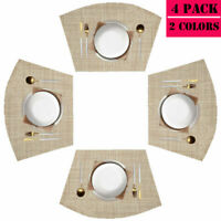 Round Table Placemats Set of 4/6 Wedge Washable Table Mats For Kitchen Table Hot