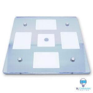 2x Caravan 12v 24v Glass Large Square Dimmable Touch LED WhIte Night Light