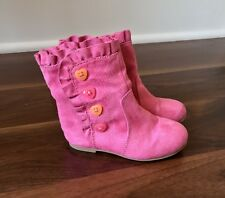 Gymboree Pink Boots With Multi Color Decorative Buttons ~ Toddler Size 7