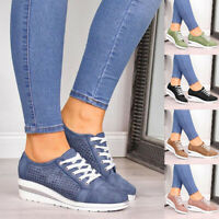 Women's Wedge Platform Sneakers High Top Lace Up Shoes Sports Casual Ankle Shoes