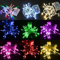Twinkling Fairy String Lights 10/20/30/40/50/80 LED Battery Operated Multicolor