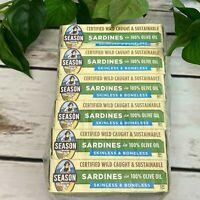 6 Cans (4.375 oz each) Season Wild Caught Sardines Olive Oil Skinless Boneless
