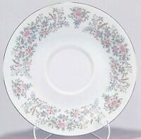 "Porcelain White with Pink Floral and Silver Trim 6"" Saucer"