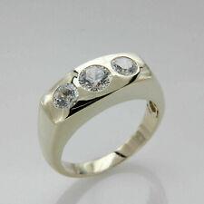 3 CT Round 14k Yellow Gold Finish Mens Band Three Stone Diamond Engagement Ring