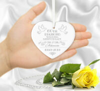 Personalised Wedding Anniversary Gift Mr & Mrs 1st 5th 10th 15th Heart Plaque