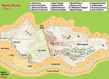 A4 impresión: mapa de Machu Picchu, Perú (Imagen Cartel Antiguo Aliens Historia Arte)