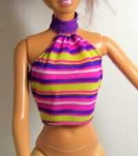 Barbie Doll Clothes Separates  Purple Yellow Striped Bare Shoulder Top  Doll NOT