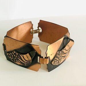 4.99 SB Sale! Vtg Renoir Style  Solid Copper Modernist Brutalist Bracelet