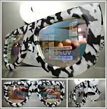 OVERSIZED VINTAGE RETRO Style SUN GLASSES Black & White Marble Frame Mirror Lens