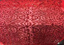 4 Way Stretch Nebula Geometric Sequin Fabric red by the yard