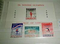 "FRANCOBOLLI LIBERIA 1964 ""OLYMPICS INNSBRUCK"" MNH** SET + BLOCK (CAT.10)"