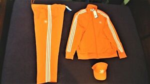 Adidas 2XL Firebird Orange & White Tracksuit with Trefoil Orange Cap