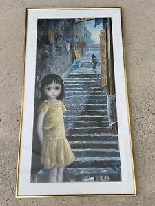 Margaret Keane Decoupage Art Print Big Eyes GIRL OF CHINA Vintage 60s MCM Wood