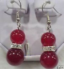 Lustrous 8-10MM Red Ruby Gemstone Round Beads Dangle Earring Silver Hook AA