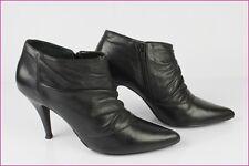 Escarpins Boots MINELLI Cuir Drapé Noir T 41 TTBE