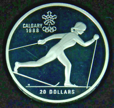 1986 (1988) $20 Calgary Olympic Silver Proof 1 oz Coin • Cross Country KM150