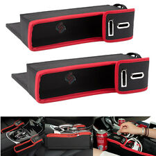 Right&Left PU Car Seat Catcher Gap Filler Storage Box Coin Collector Cup Holders