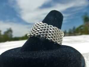 BEAUTIFUL TIFFANY T & CO STERLING SILVER 925 MESH RING SIZE 8.5 Stunning on