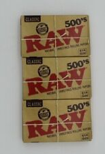 3X RAW CLASSIC ROLLING PAPERS 1 1/4 500s EACH PACK HAS 500 SHEETS 1500 IN TOTAL