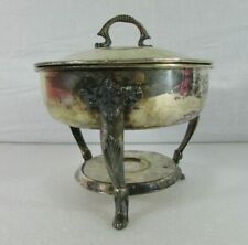 """Vintage Silver Plated Round Chafing Dish Food Warmer Stand 8 3/4""""D x 7""""H"""