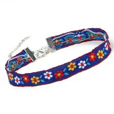 Blue Floral Flower Choker, Embroidered Ribbon Necklace, Hippie Boho Bohemian