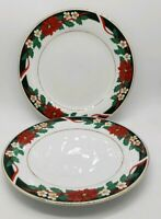 "Tienshan Deck the Halls Set of 2 Dinner Plates Christmas Poinsettia 1"" tall"