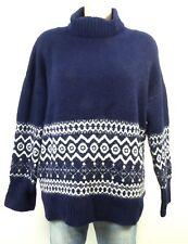 ZARA KNIT Oversize Norweger Pullover Rollkragen Blau Gr. S 36 (DD239)