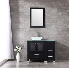 "New 36"" Ceramic Sink Bathroom Vanity Cabinet Solid Wood Modern Design w/Mirror"