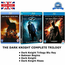 THE DARK KNIGHT TRILOGY Batman Begins Rises New and Sealed UK Region - B Blu ray
