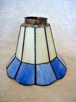 Vintage Light Cobalt Blue & White Stained Glass Lamp/Fan Light Shade