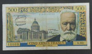 Billet 500 francs Victor Hugo, 6.1.1955, fayette 35.04, B à TB épinglages, micro