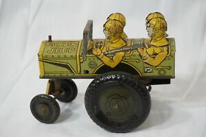VINTAGE MARX TOY JUMPIN JEEP 22C WIND UP WORKS TIN LITHO ARMY MILITARY 1940s