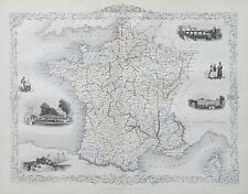 c1854 FRANCE Genuine Antique Map by Rapkin Original Outline Hand Colouring