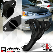 Black Painted 4-1 Exhaust Header Manifold for 01-05 Honda Civic DX/LX 1.7 D17A