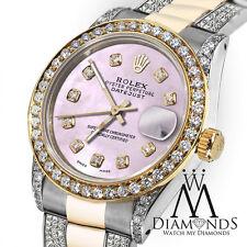 Ladies 26mm Rolex Oyster Perpetual Datejust Custom Tone Pink Diamonds