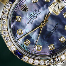 Women's Rolex 31mm Datejust Watch Tahitian MOP Dial Sapphire & Diamond Bezel
