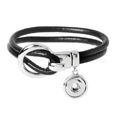 Buy 4, Get 5th $5.95 Snap Free Petite Ginger Snap Black Leather Bracelet Gp90-71