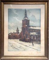 "::KIRCHE MARKT IM WINTER FARBRADIERUNG Sct. Knuds Church"" in the city of Odense"