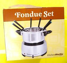 FONDUE SET STAINLESS STEEL ELECTRIC BASE KITCHENWORTHY THERMOSTAT 6 FORKS NEW
