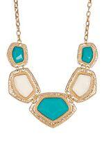 Bansri 18k Gold Plated Bib Necklace Turquoise & White Enamel NEW