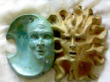 "Sun and Moon Sculpture, Handmade 12"" x 9"" Indoor Outdoor Sculpture by Claybraven"