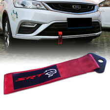 Red JDM SRT HELLCAT Style Car Bumper Tow Ropes Towing Hook Strap Traction Belt