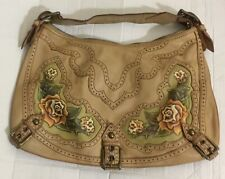 ISABELLA FIORE ROSE HOBO SHOULDER TOTE HANDBAG 18x12 FLAT PEBBLE LEATHER ZIPPED