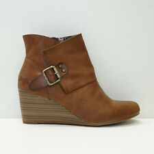 Blowfish Womens Shoe Baldwin Wedge Ankle Boot Bootie Brown Faux Leather 10
